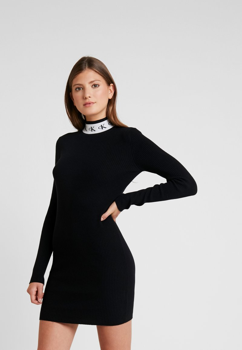Calvin Klein Jeans - MONOGRAM TAPE DRESS - Abito in maglia - black