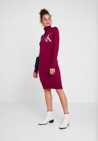 Calvin Klein Jeans - MONOGRAM SWEATER DRESS - Robe d'été - beet red - 2