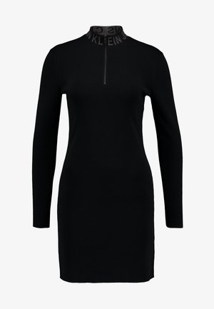NECK LOGO FITTED DRESS - Sukienka etui - black