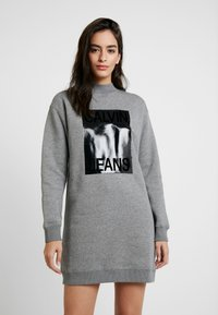 Calvin Klein Jeans - MOCK NECK DRESS - Denní šaty - mid grey heather - 0