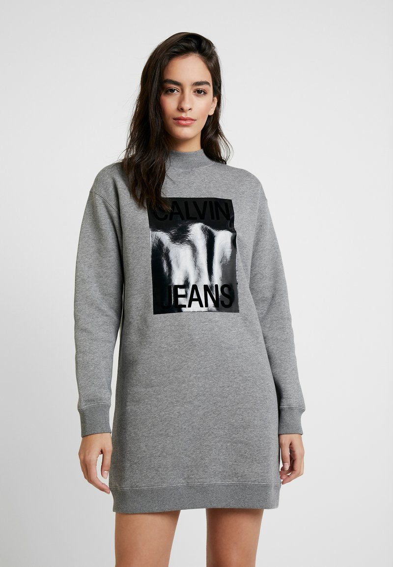 Calvin Klein Jeans - MOCK NECK DRESS - Denní šaty - mid grey heather
