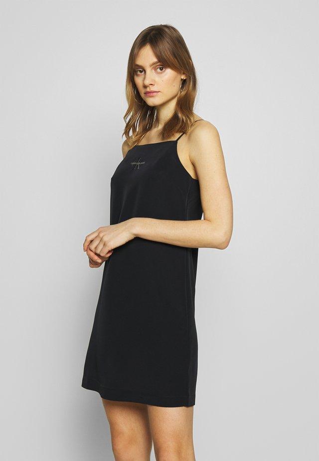 MONOGRAM SLIP DRESS - Korte jurk - black