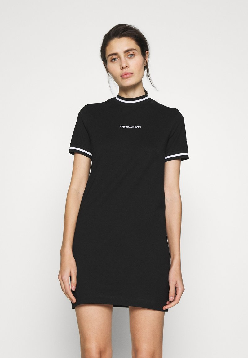Calvin Klein Jeans - NECK AND CUFF TIPPING TEE DRESS - Žerzejové šaty - ck black