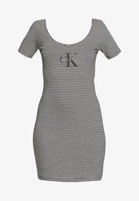 Calvin Klein Jeans - MONOGRAM STRIPE BALLET DRESS - Žerzejové šaty - bright white/black - 4