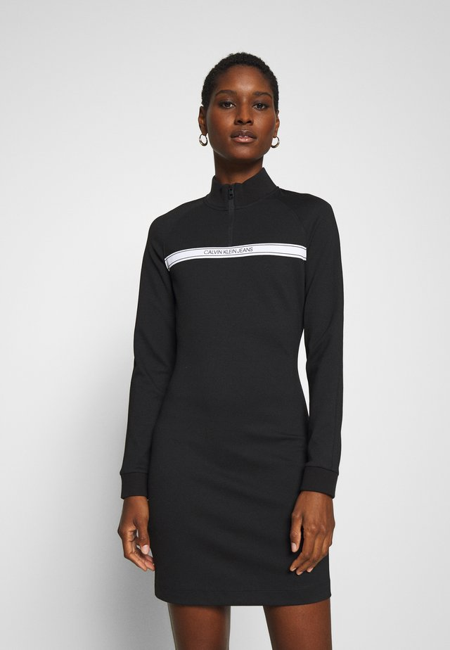 MILANO MOCK NECK ZIP LOGO DRESS - Shift dress - black