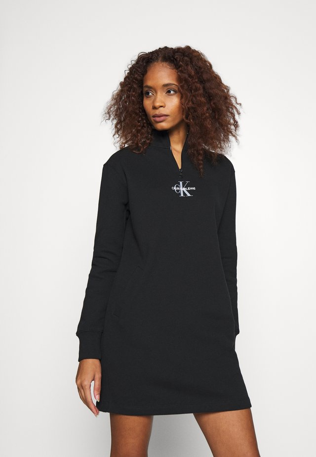 MOCKNECK ZIP WITH MONOGRAM - Sukienka letnia - black