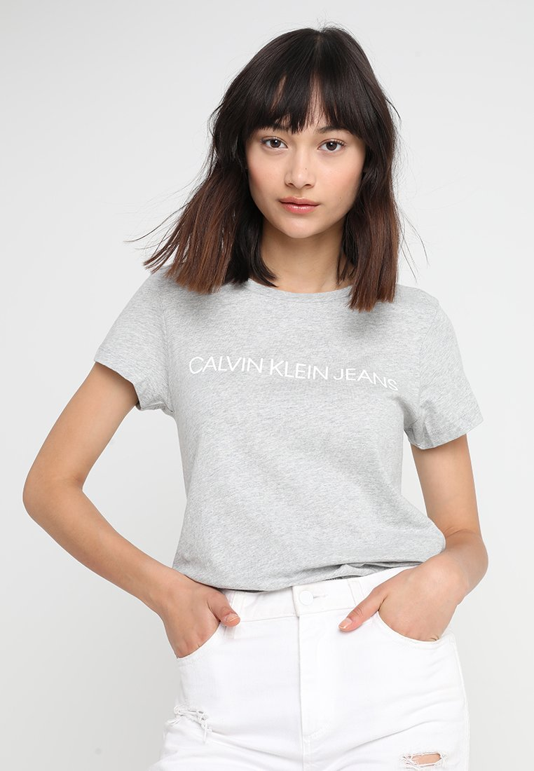 Calvin Klein Jeans - INSTITUTIONAL LOGO TEE - Print T-shirt - light grey heather