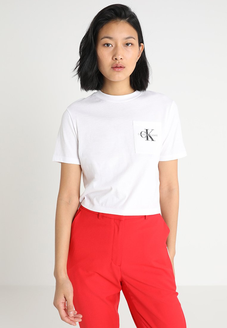 Calvin Klein Jeans - CROPPED MONOGRAM OFF PLACEMENT - T-shirt print - bright white