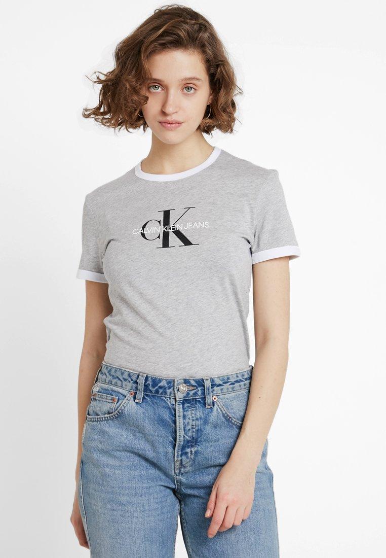 Calvin Klein Jeans - MONOGRAM RINGER TEE - Triko spotiskem - grey heather/white