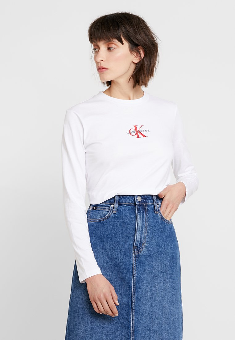 Calvin Klein Jeans - MONOGRAM EMBROIDERY LONG SLEEVE - Long sleeved top - bright white