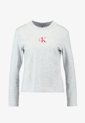MONOGRAM EMBROIDERY LONG SLEEVE - Long sleeved top - light grey heather