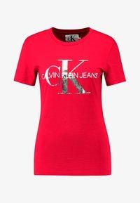 Calvin Klein Jeans - MONOGRAMSLIM TEE - Triko spotiskem - barbados cherry/soothing sea - 4