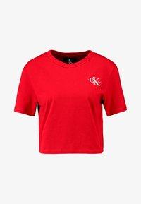 Calvin Klein Jeans - MONOGRAM EMBROIDERY CROPPED TEE - Triko spotiskem - barbados cherry/white - 4