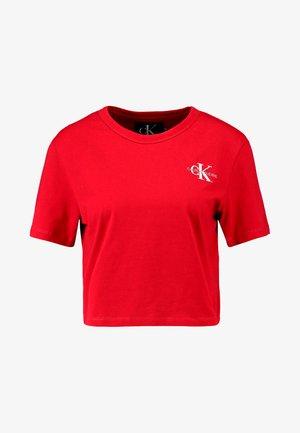 MONOGRAM EMBROIDERY CROPPED TEE - T-shirt print - barbados cherry/white