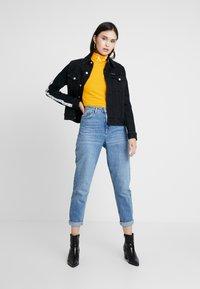 Calvin Klein Jeans - MONOGRAM TAPE ROLL NECK - Long sleeved top - lemon chrome/bright white - 1