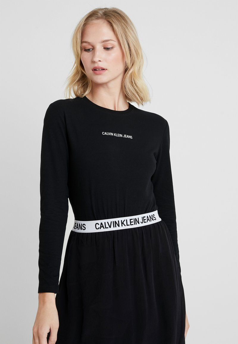 Calvin Klein Jeans - LOGO STRETCH SLIM - Long sleeved top - black