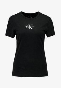 Calvin Klein Jeans - MONOGRAM SLIM RINGER TEE - Printtipaita - black - 3