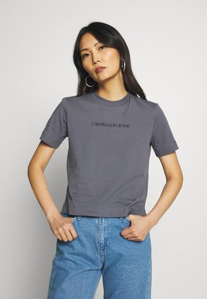 SHRUNKEN INSTITUTIONAL LOGO TEE - T-shirt con stampa - abstract grey