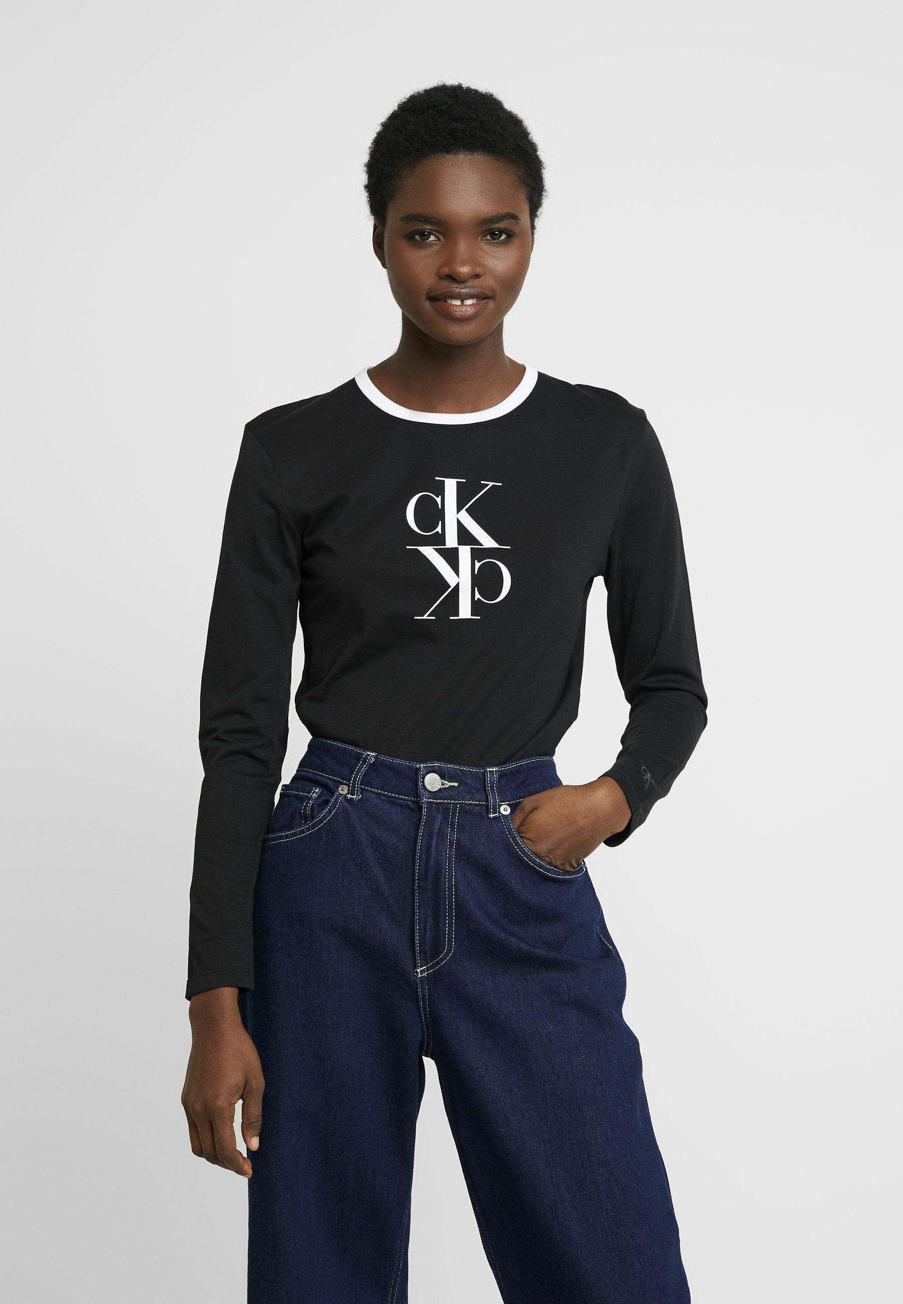 Calvin Klein Jeans MIRRORED MONOGRAM RINGER - Bluzka z długim rękawem - black