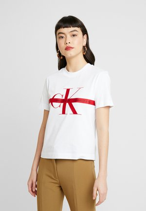 TAPING THROUGH MONOGRAM TEE - T-shirt z nadrukiem - bright white