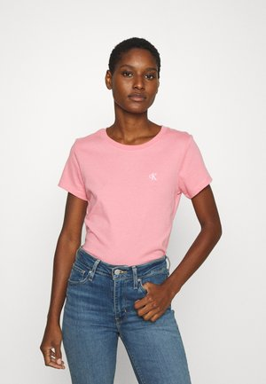 EMBROIDERY SLIM TEE - T-shirt basic - brandied apricot