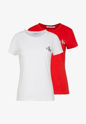 SLIM 2 PACK - Print T-shirt - fiery red/bright white