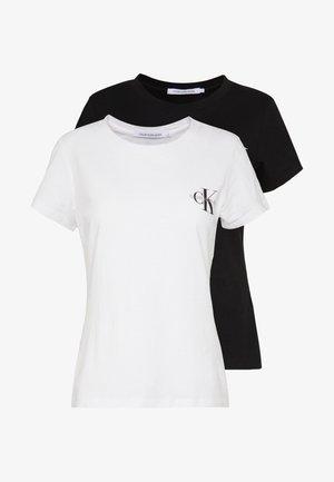 SLIM 2 PACK - Print T-shirt - black/bright white