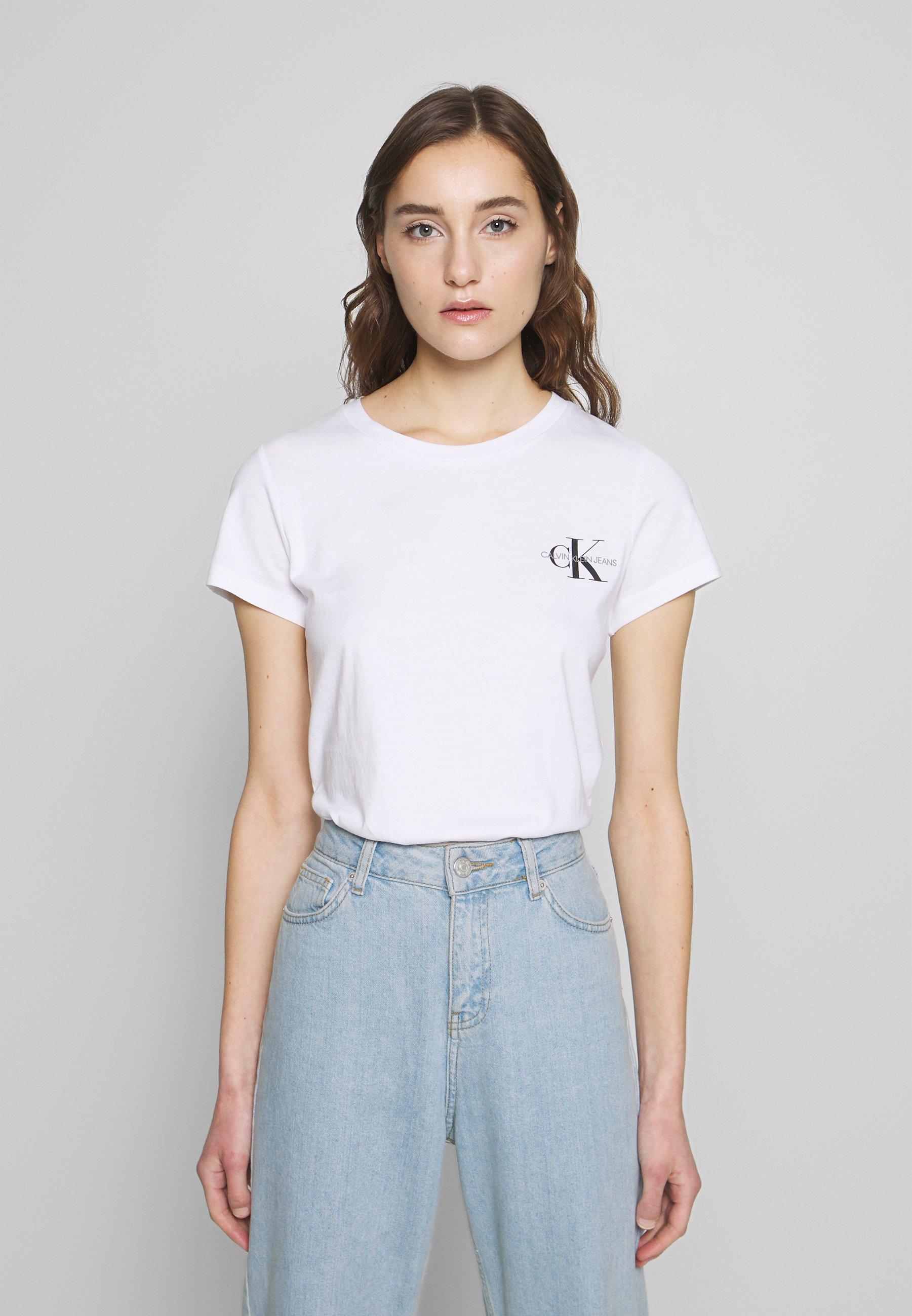 Calvin Klein Jeans SLIM 2 PACK - T-shirts med print - black/bright white