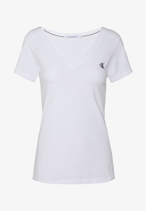 EMBROIDERY V NECK - T-shirt - bas - bright white