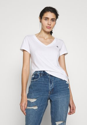 EMBROIDERY V NECK - Basic T-shirt - bright white
