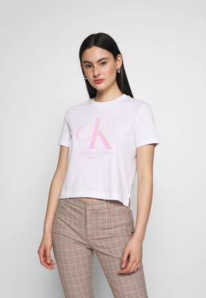 IRIDESCENT STRAIGHT TEE - T-shirt z nadrukiem - bright white