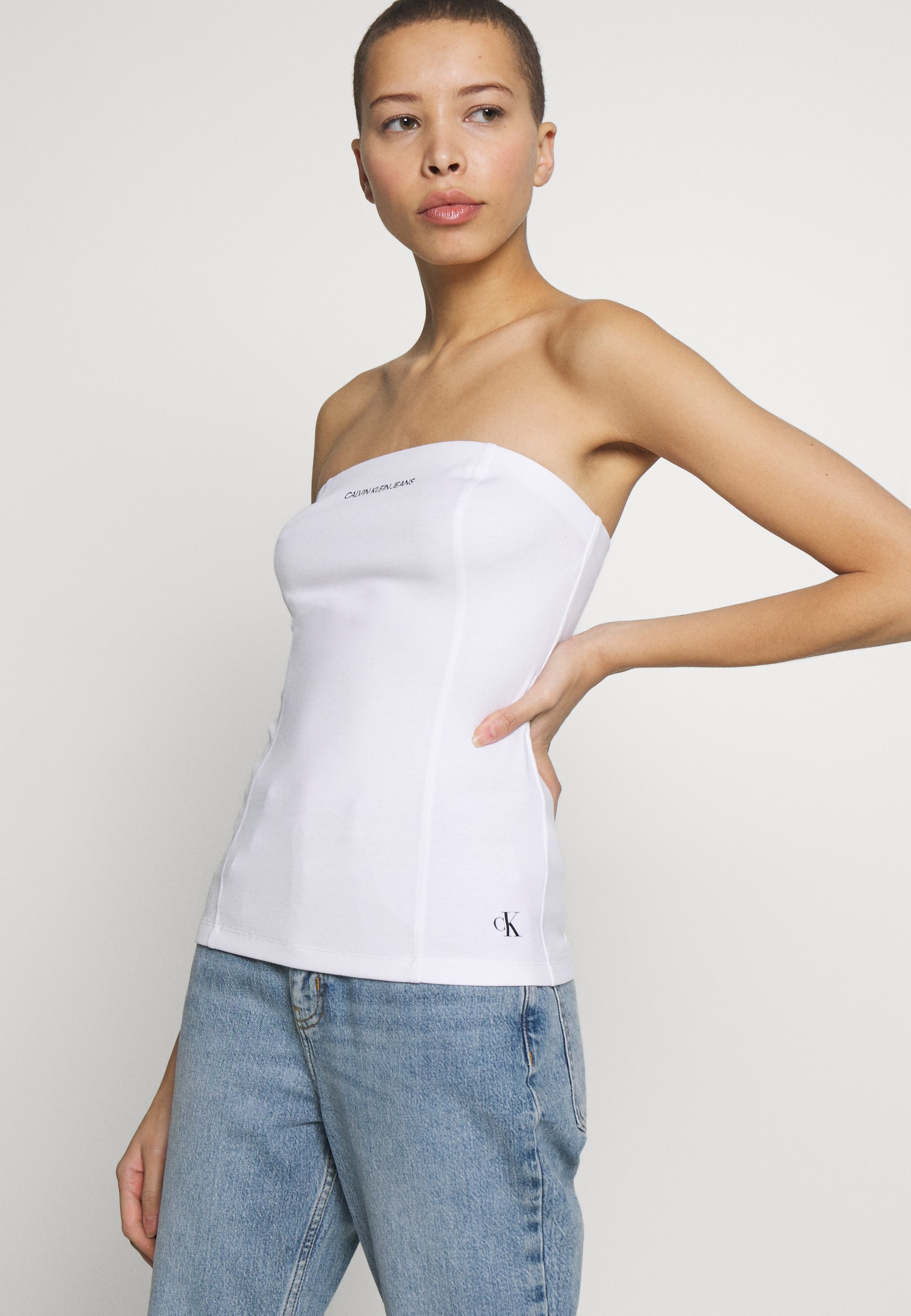 Calvin Klein Jeans INSTITUTIONAL LOGO TUBE - Topper - bright white