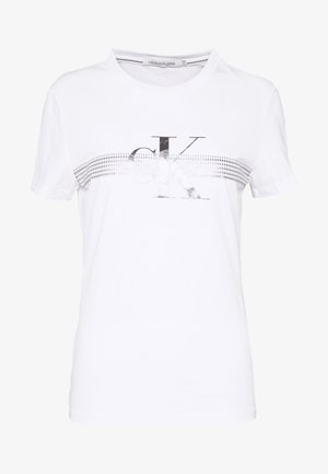 METALLIC SLIM TEE - Triko spotiskem - bright white