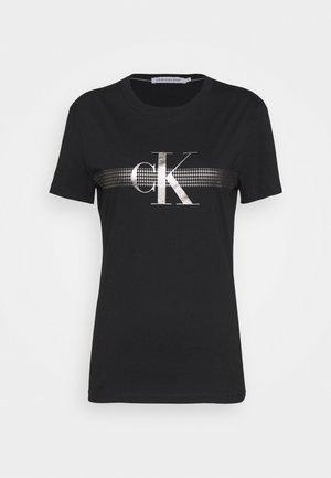 METALLIC SLIM TEE - Print T-shirt - black beauty