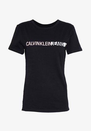 STRIPE LOGO SLIM TEE - T-Shirt print - black
