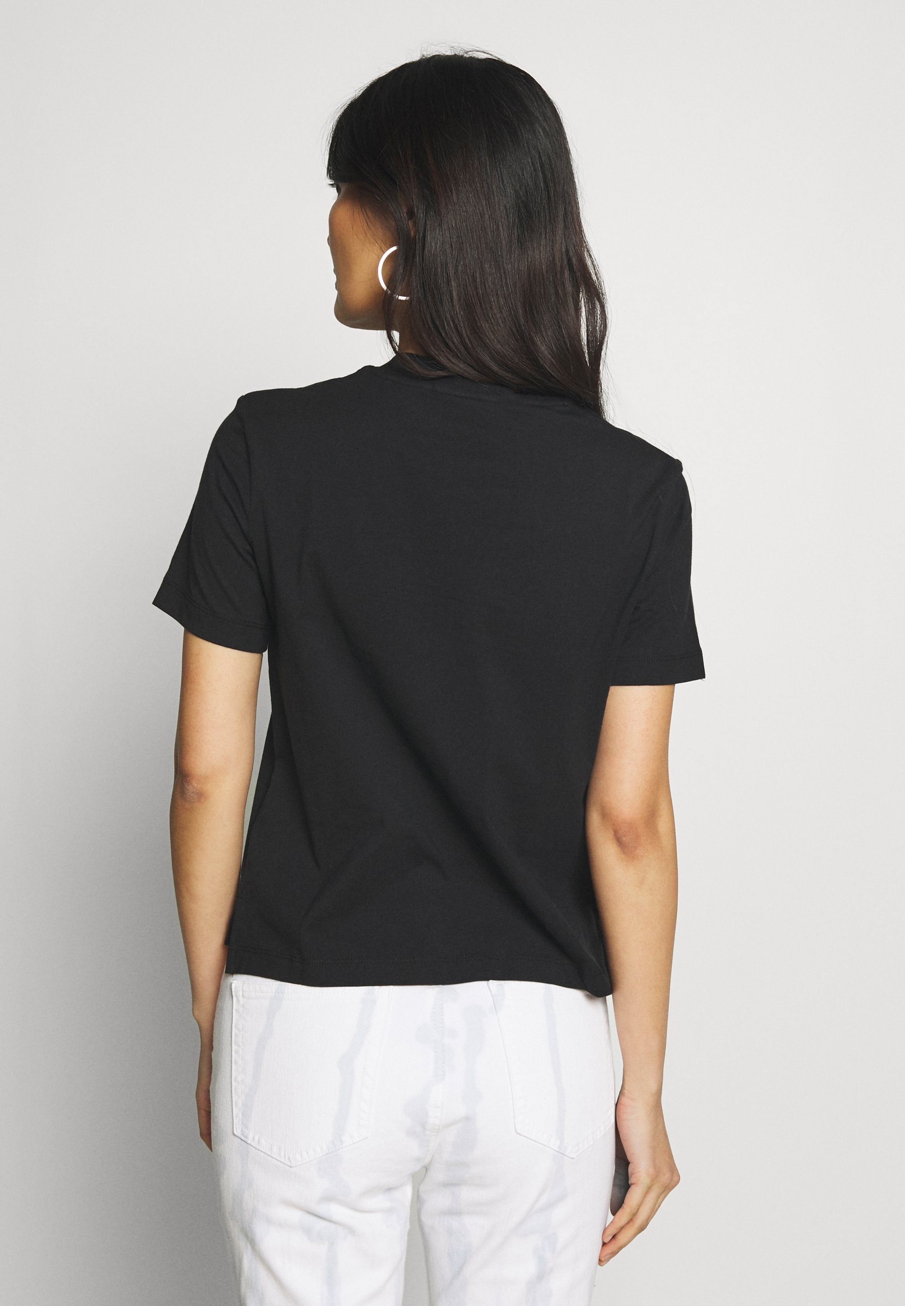 Calvin Klein Jeans ROUND LOGO STRAIGHT TEE - T-shirts med print - black