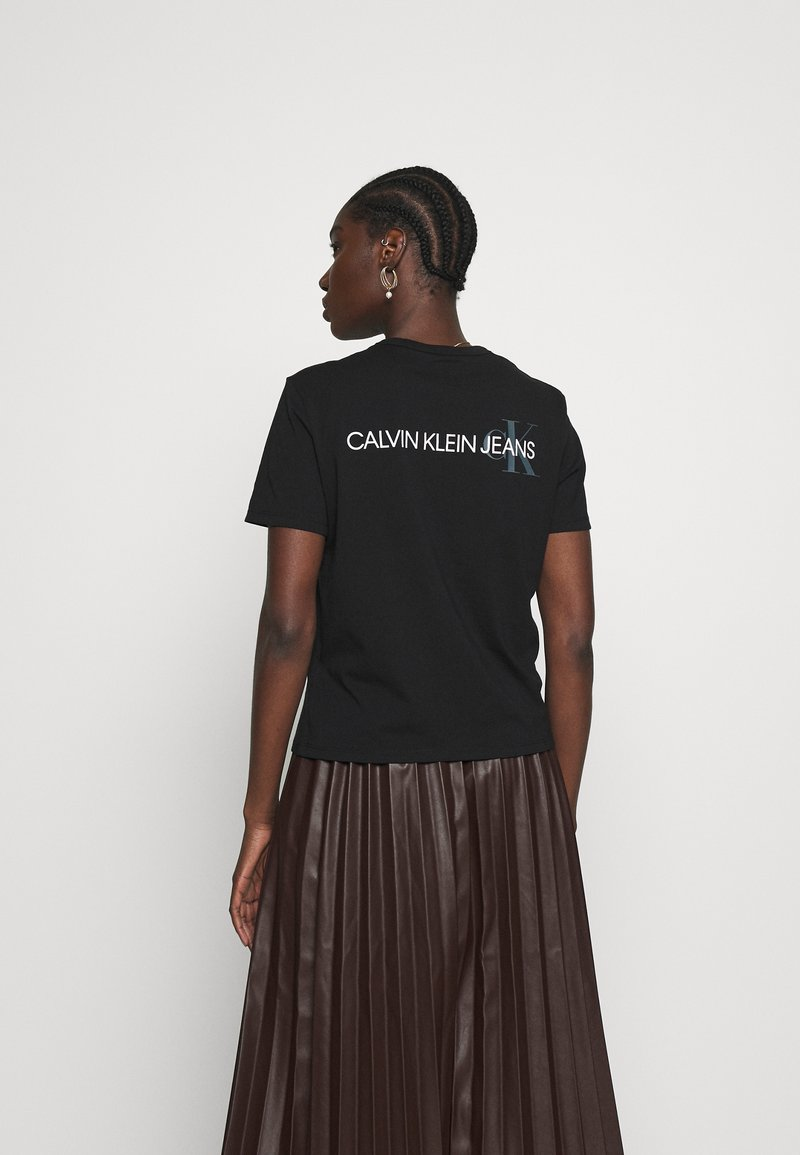 Calvin Klein Jeans - BACK INSTITUTIONAL LOGO SLIM TEE - Print T-shirt -  black