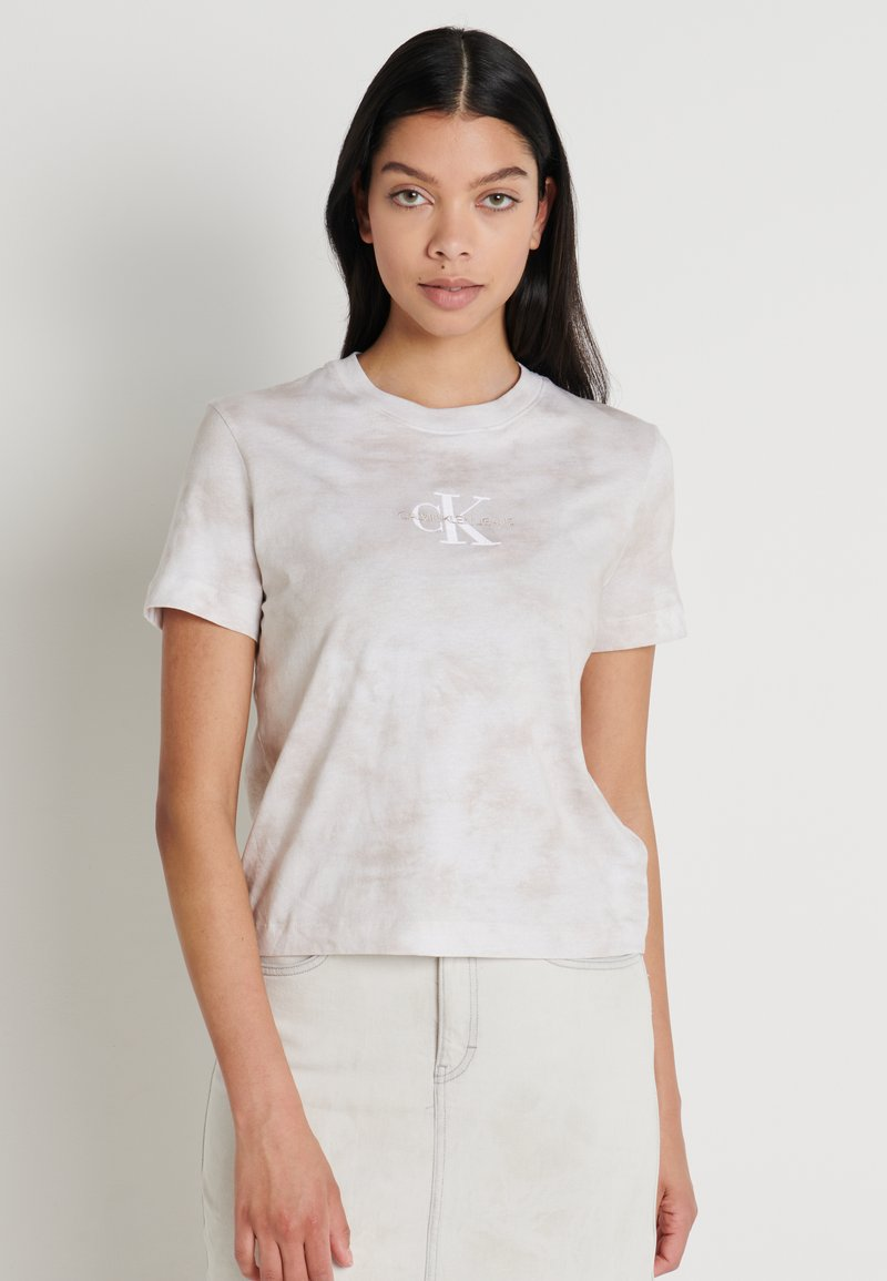 Calvin Klein Jeans - TIE DYE TEE - T-shirts med print - plaza taupe