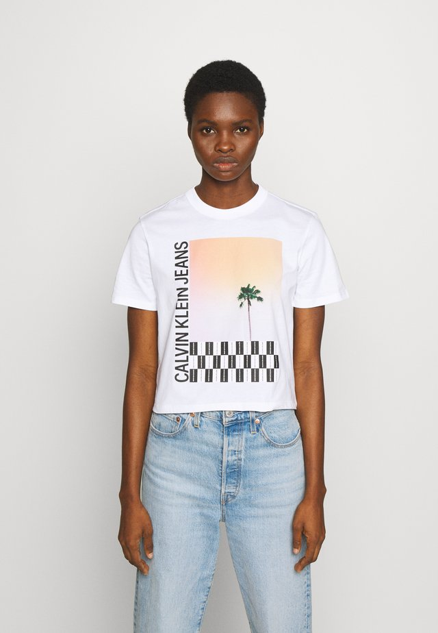 PALM TREE PHOTO LOGO SLIM TEE - T-shirt print - bright white