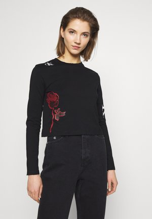CK ONE ROSE LOGO MODERN STRAIGHT - Long sleeved top - black beauty
