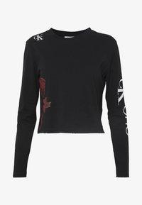 Calvin Klein Jeans - CK ONE ROSE LOGO MODERN STRAIGHT - Long sleeved top - black beauty - 4