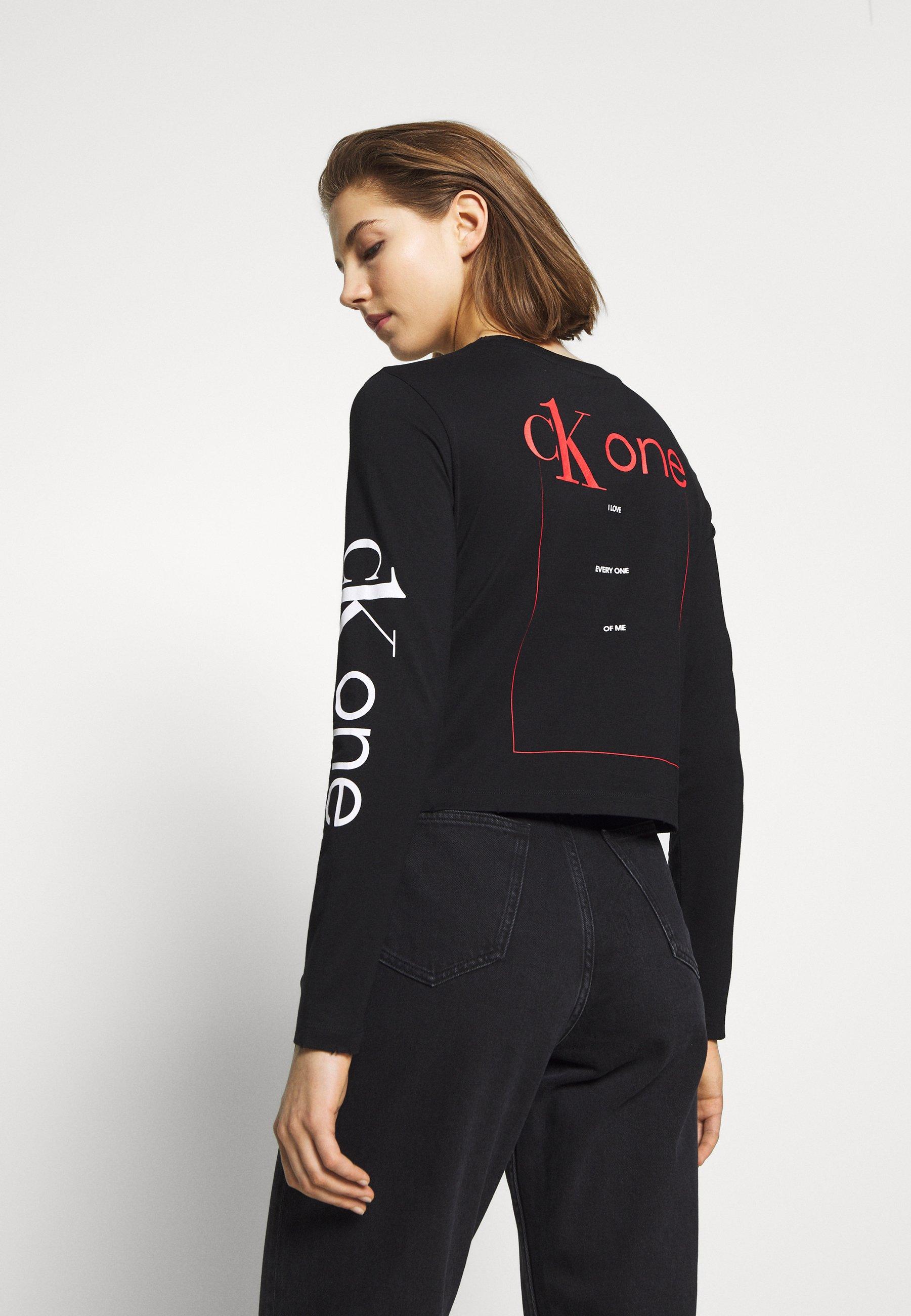 Calvin Klein Jeans CK ONE ROSE LOGO MODERN STRAIGHT - Topper langermet - black beauty