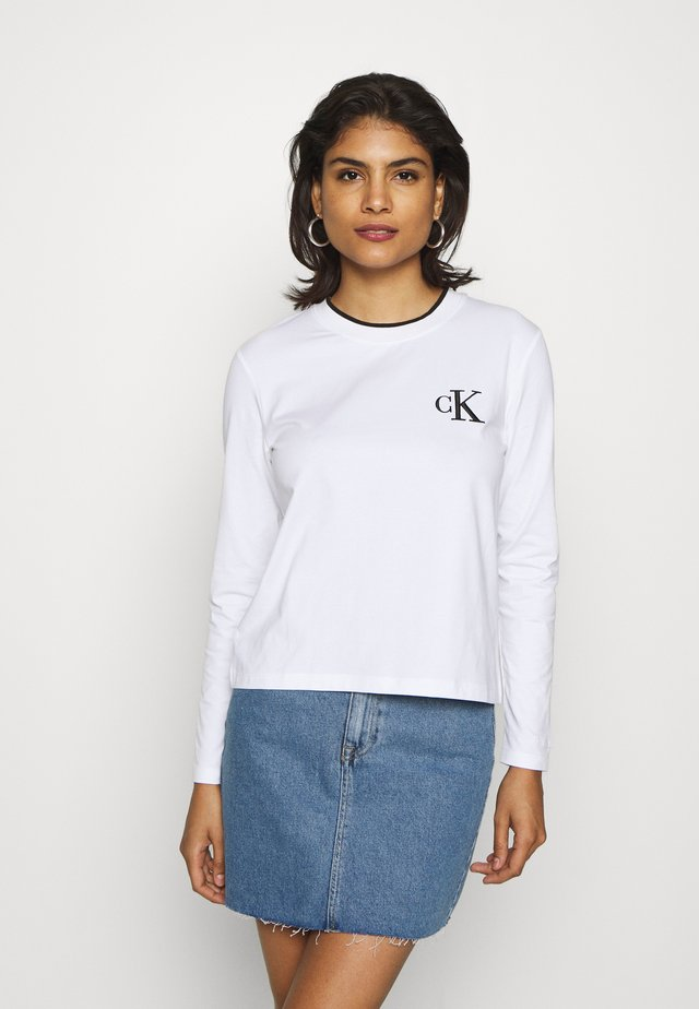 EMBROIDERY TIPPING - Long sleeved top - bright white