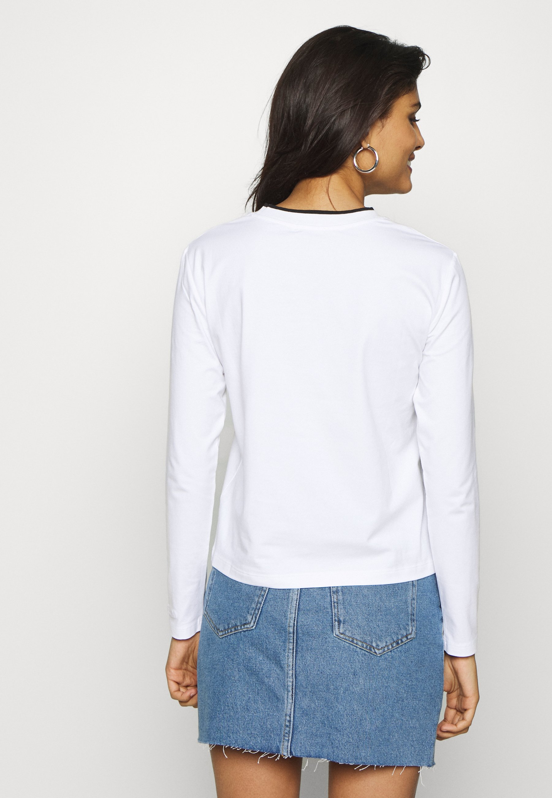 Calvin Klein Jeans EMBROIDERY TIPPING - Bluzka z długim rękawem - bright white