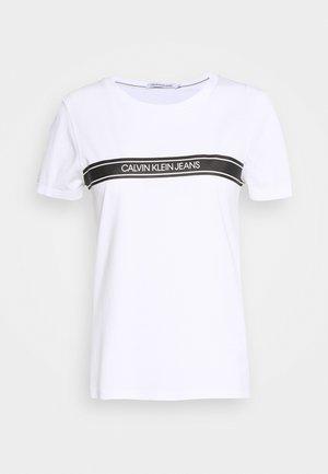 STRIPE SLIM TEE - T-shirt med print - bright white
