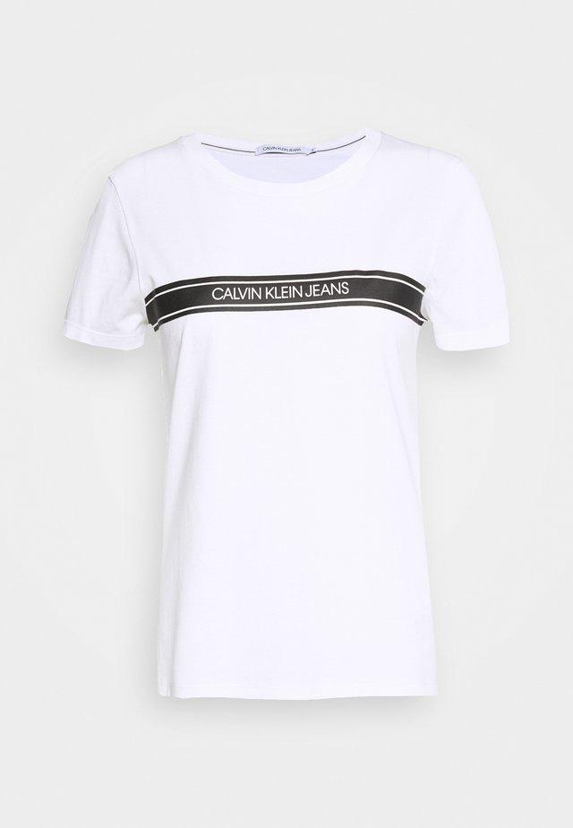 STRIPE SLIM TEE - T-Shirt print - bright white