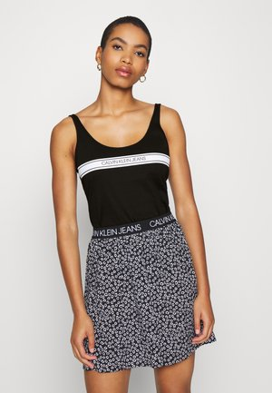 STRIPE LOGO SCOOP NECK TANK - Top - black