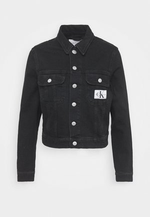 CROP TRUCKER - Denim jacket - washed black
