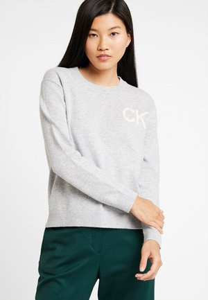 INTARSIA LOGO SWEATER - Jumper - light grey heather/bright white