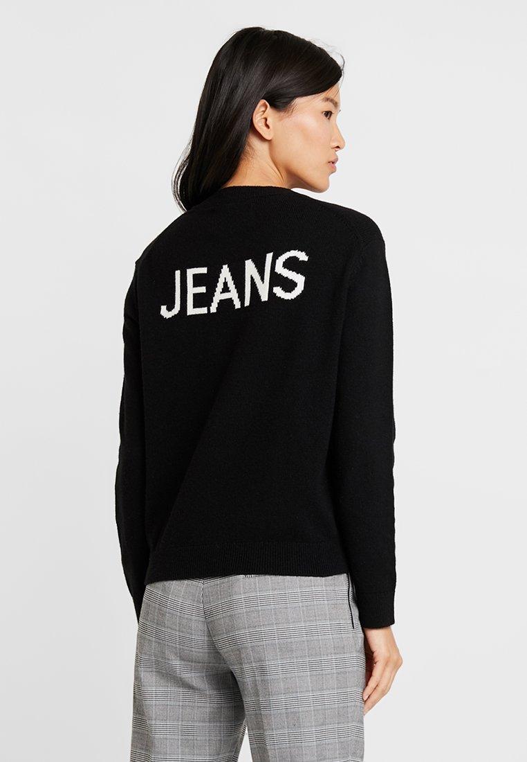 White Intarsia Calvin Black SweaterMaglione Ck bright Jeans Logo Klein cTK31JFl